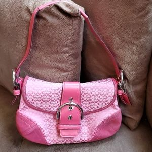 Pink Coach signature Soho fabric and leather hobo